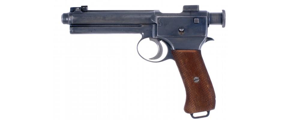 Pistole Steyr M.7 8 mm Steyr, nábojový pásek a pouzdro