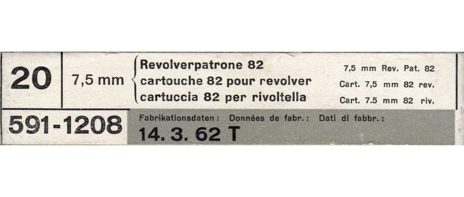 Střelivo 7,5 mm Ordnance (revolverpatrone 82)
